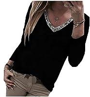 WE&energy 女性プラスサイズVネックスパンコールロングスリーブは、パッチトップをリラックス Black XS