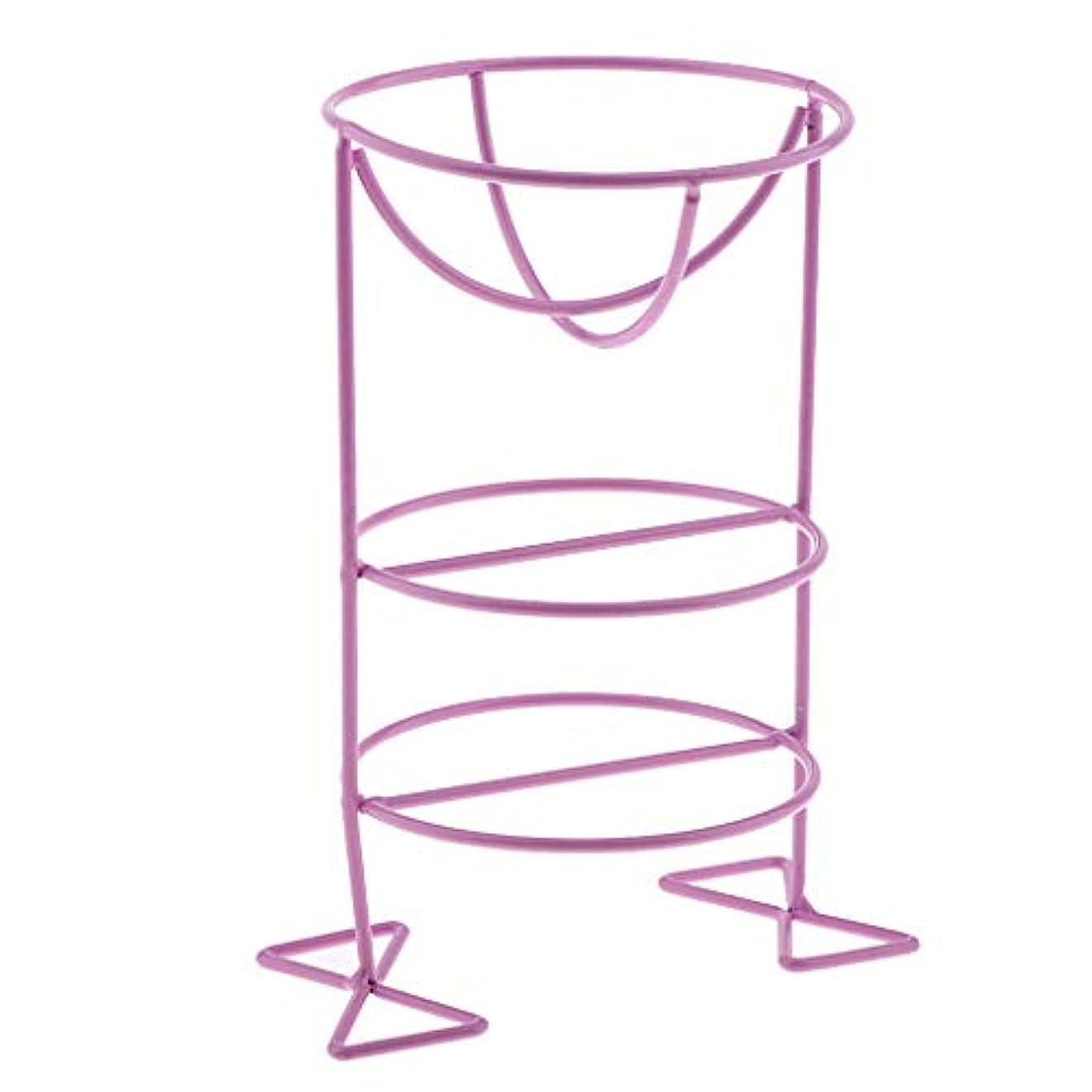 縫う気難しい正確化粧パフ スポンジ スタンド ディスプレイ ホルダー オーガナイザー 乾燥ラック 3色選べ - 紫