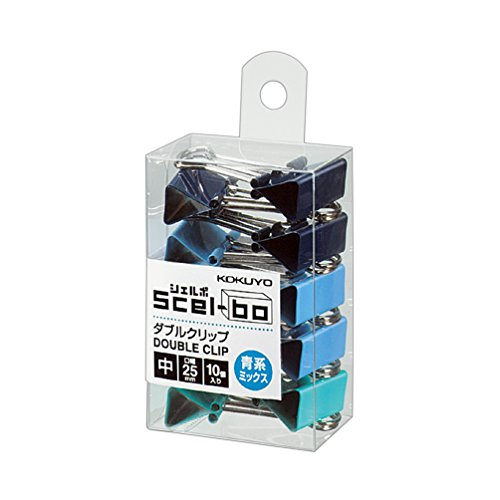 コクヨ ダブルクリップ Scel-bo 個箱タイプ 中サイズ 口幅25mm 10個 青系ミックス クリ-J34BMX