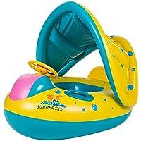 プールボート調節可能なサンシェードの頑丈なハンドル付きPVCベビーフロート、0?4年間、黄色、子供のベビー水泳リング、ギフトエアーポンプ