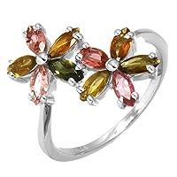 ナチュラル マルチ トルマリン 宝石 収集品 宝石 固体 925 スターリング 銀 リング Sz 14