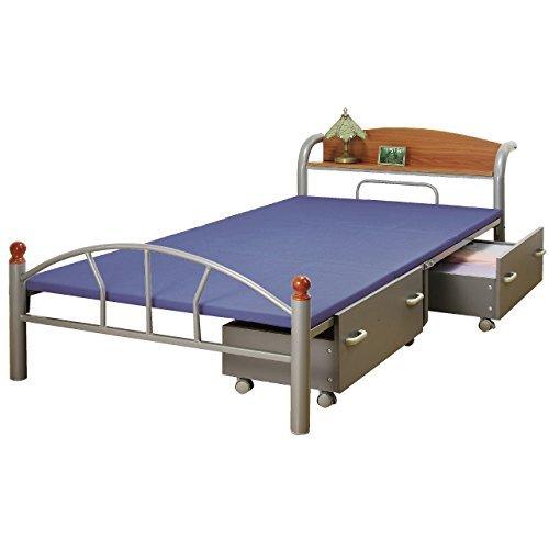 木製棚付きベッド 引出し付き シルバー