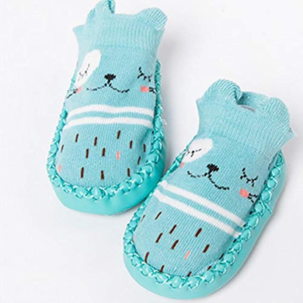 大脳慢な家主かわいい漫画の赤ちゃんの靴下通気性の柔らかい綿の靴下靴幼児のための滑り止めの床の靴下の女の子の男の子の靴下ブーツブルー