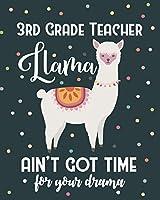 3rd Grade Teacher Llama Ain't Got Time For Your Drama: Dot Grid Notebook and Appreciation Gift for Third Grade Teachers