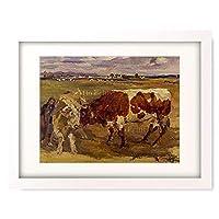 Feldbauer, Max,1869-1948 「Zwei Ochsen in Landschaft.」 額装アート作品