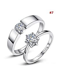 Niome 1 Pair Silver Plated Heart Lovers Couple Promise Rings Set Zircon Crystal Diamond Wedding Ring Jewelry