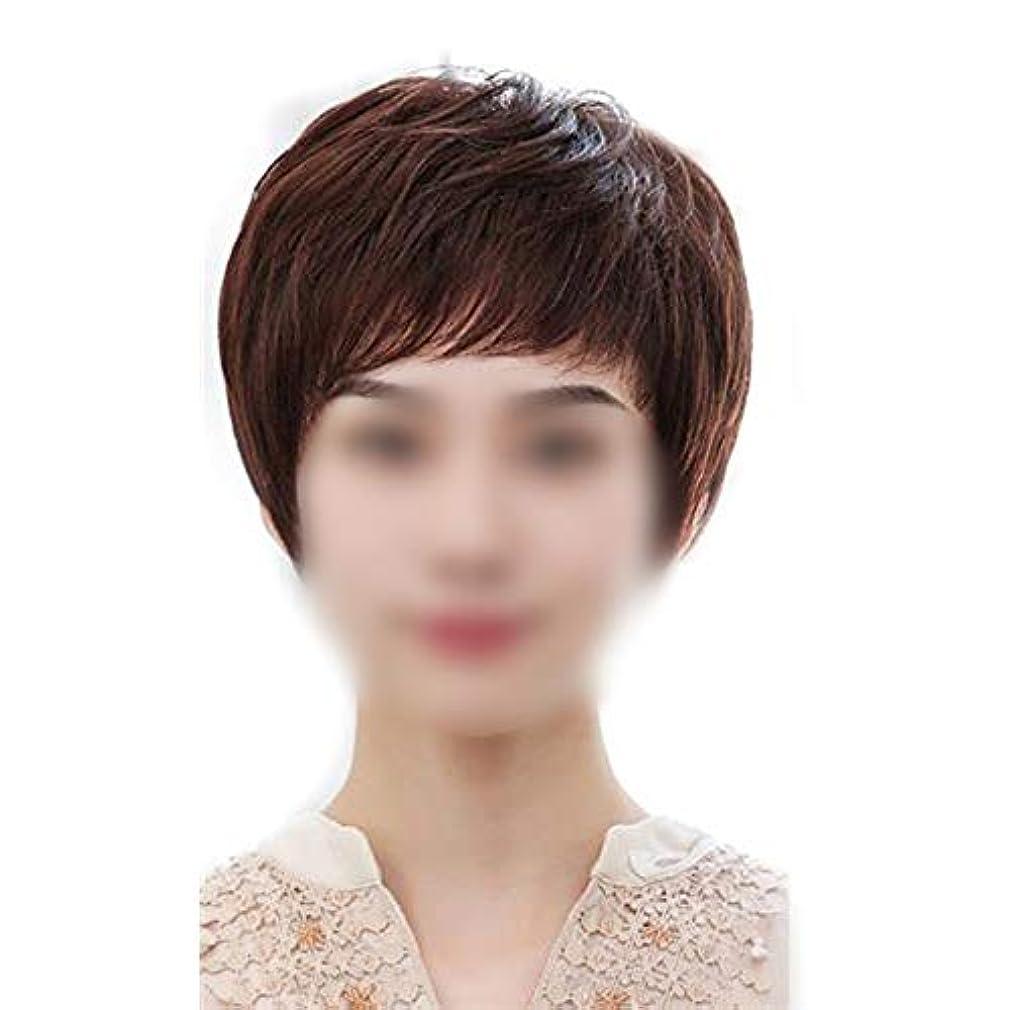 飽和するエトナ山ポンプYOUQIU 中年ウィッグのために髪とふわふわふわふわライトショートストレート髪を持つ女性のフル手の手織りの針 (色 : Natural black)