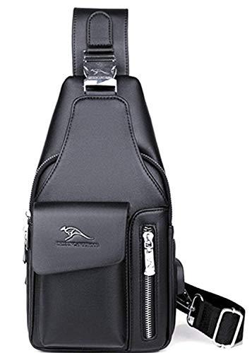 ボディバッグ ショルダーバッグ ワンショルダーバッグ メンズ 多機能 撥水 大容量 軽量 通勤カバン 斜め掛け かばん ウエストバッグ イヤホンポート #5802 (ブラック)