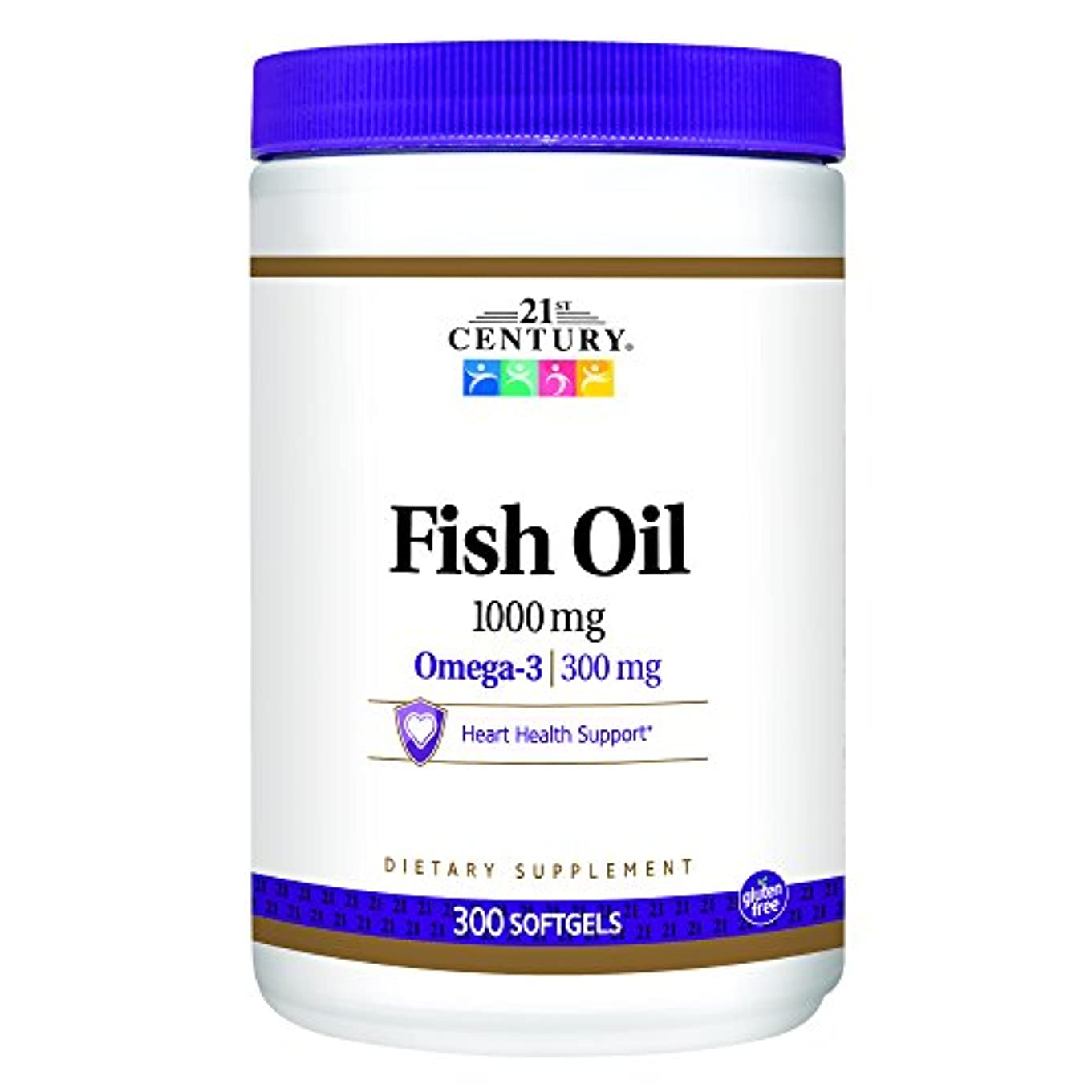 防ぐマーク老朽化した21st Century Health Care, Fish Oil, Omega-3, 1000 mg, 300 Softgels