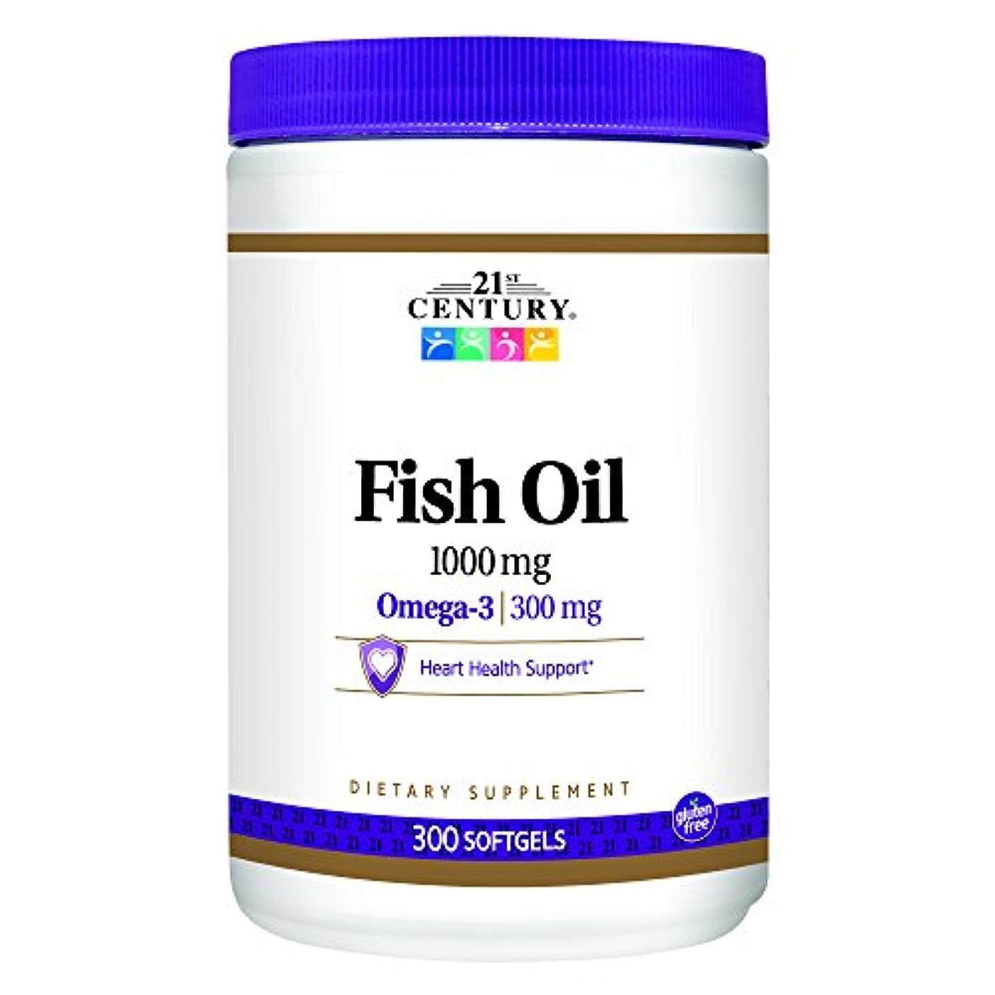 プレート薄める輸血21st Century Health Care, Fish Oil, Omega-3, 1000 mg, 300 Softgels