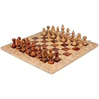 Coral Stone & Red Onyx Marble Staunton Chess Set- 16 Chess Board, 3 1/2 King by Marble 'n things [並行輸入品]