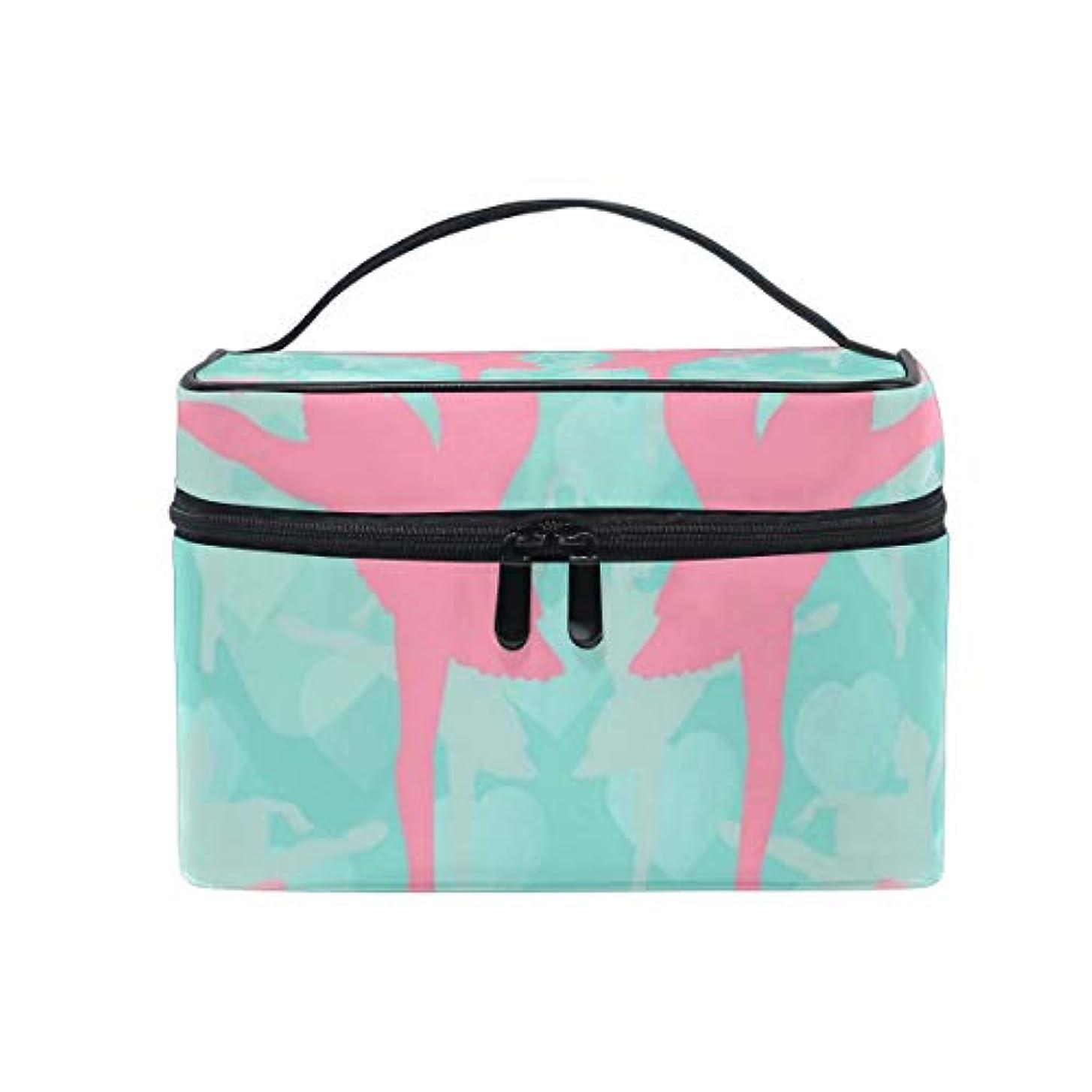 包括的ヒギンズ厚いメイクボックス 粉彩バレエ柄 化粧ポーチ 化粧品 化粧道具 小物入れ メイクブラシバッグ 大容量 旅行用 収納ケース