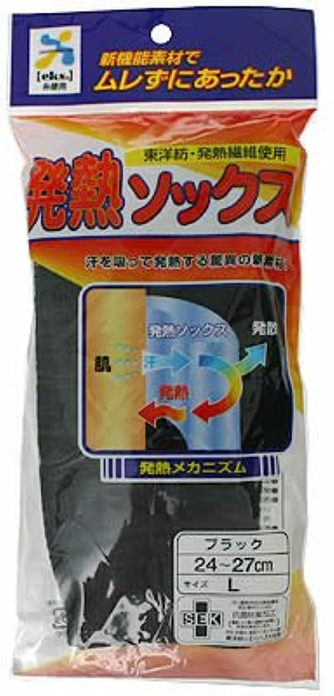 きつく溝プリーツ日本医学 発熱ソックス ブラック L
