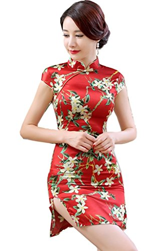 [해외](상하이 이야기) Shanghai Story 치파오 여성 샷 길이 원피스 차이나 옷 旗袍 반팔 꽃 무늬 차이나 풍의 파티 드레스 무대 의상 이벤트/(Shanghai Story) Shanghai Story China Dress Women`s Shot Length One Piece China Clothes Flags Short Slee...