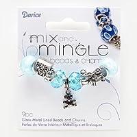 ダリス Mix and Mingle ガラスとメタルのビーズ9個セット ブルー(水色)&ホワイト・シルバー/ベビーボーイ (AJM-1999-BG5104)