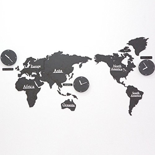 YJH+ カラフルな世界地図の壁時計、ウッディの寝室のスタジオ時計壁の時計で...
