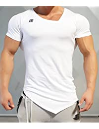 BODY ENGINEERS ボディエンジニア Tシャツ アシンメトリーYUREI  Vネック Tシャツ メーカー直輸入  [正規店販売品] (S, 白【WHITE OUT】)