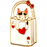 新品 ピンバッジ トランプ柄 ハート の エース の手提げ と 猫 ネコ ピンズ ピンバッチ