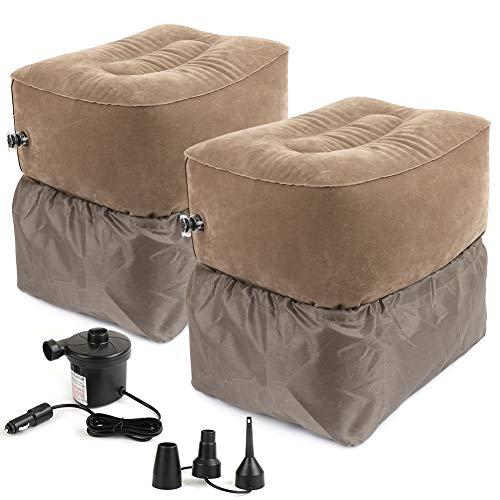 MANLI フットレスト 2個セット 足枕 車載エアーポンプ付き 足置き 足休め 汚れ防止カバー付き 携帯しやすい 便利 2階 エアクッション 車用 飛行機用 新幹線 旅行用 リビング オフィス エコノミー症候群対策