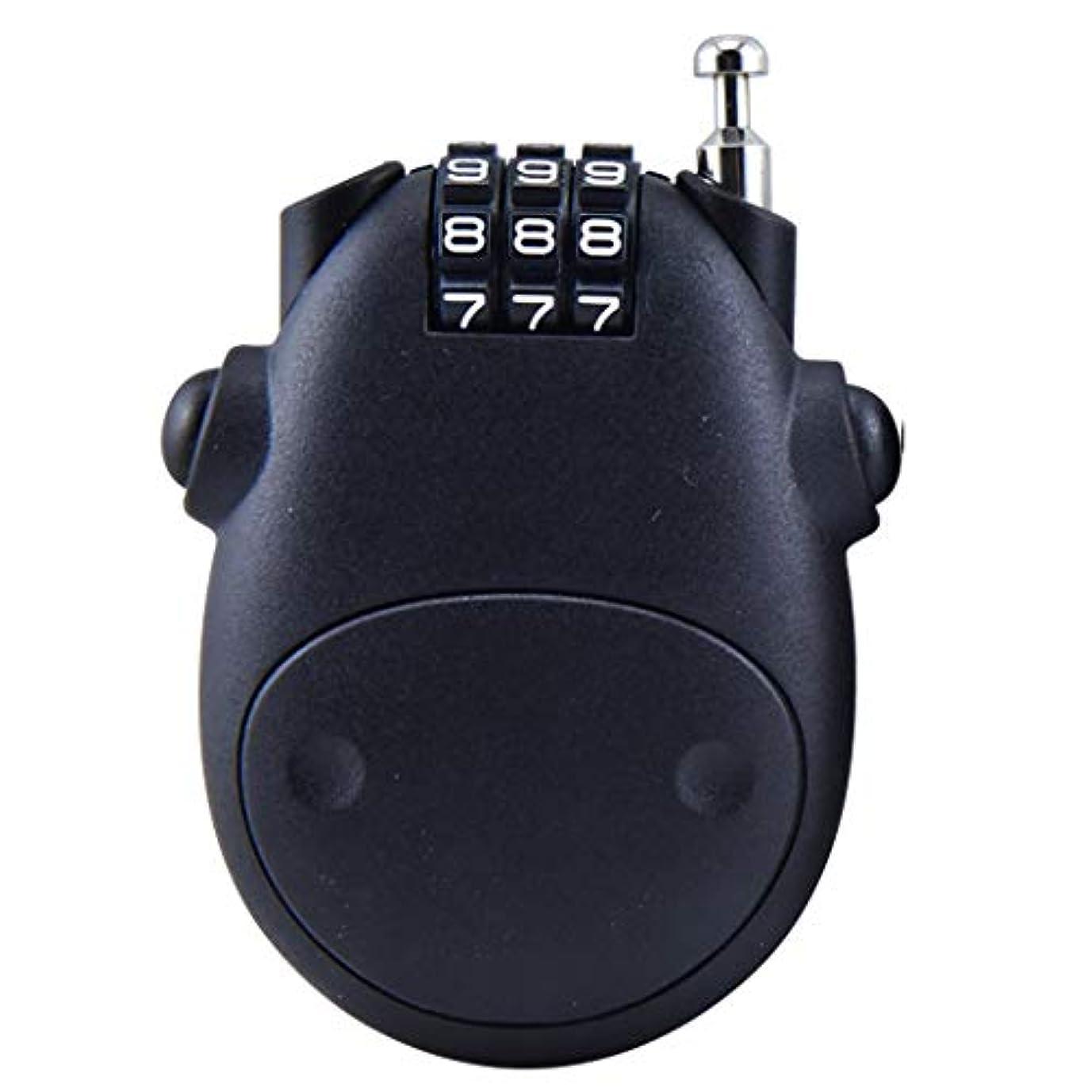 通路再生群れ格納式パスワードロックワイヤーロック南京錠かわいい牛のベビーカーロックジム盗難防止ロック学生ミニヘルメットロック (Color : Black)