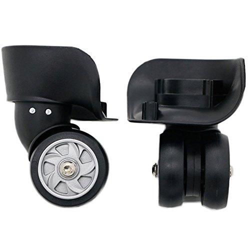 崇明 スーツケース ホイール 修理 部品 代用品 DIY トラベルバッグ輪 ラゲッジ 交換 取替え キャスター スーツケースキャリーボックスなどの車輪補修用 A026 (黒ホイール(1ペア))
