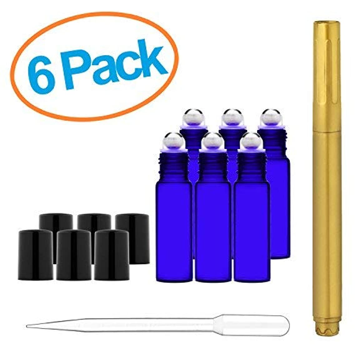 失う表示会員Culinaire 6 Pack Of 10 ml Blue Glass Bottles with Stainless Steel Roller Balls/Caps & 3 ml Dropper with Gold Glass...
