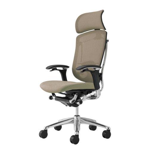 オカムラ オフィスチェア コンテッサ 可動肘 ヘッドレストタイプ 座:クッション サンドベージュ CM92AB-FGF7