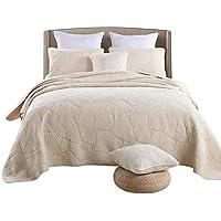 Forhomelife ベッドカバー ベッドスプレッド マルチカバー キルト 3点セット 綿100% 230×250cm ベージュ