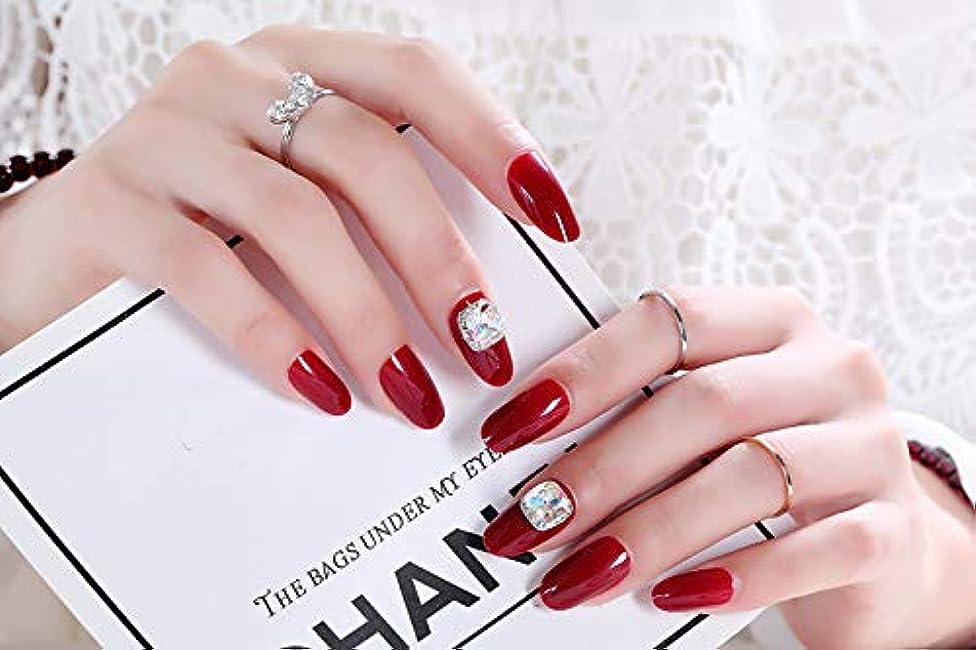 非アクティブホイッスル満州ネイルアートを着用する 24枚入 高品質 ジュエリーインレイ 人工ダイヤモンド 輝く エレガント 中位の長さ 手作りネイルチップ ネイル花嫁 (レッド)