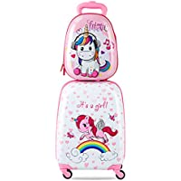 "Costway Kids Luggage Backpack Set Travel SuitcaseTrolley Carry on Hard Shell 12""+16"" Gift"