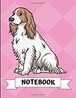 Notebook: White Brown English Cocker Spaniel Dog Cartoon on a Pink Diamond Background. Book is Filled with Lined Journal Paper for Notes and Creating Writing.