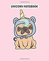 Unicorn Notebook: the pugicorn pug unicorn lover tee funny pug  College Ruled - 50 sheets, 100 pages - 8 x 10 inches