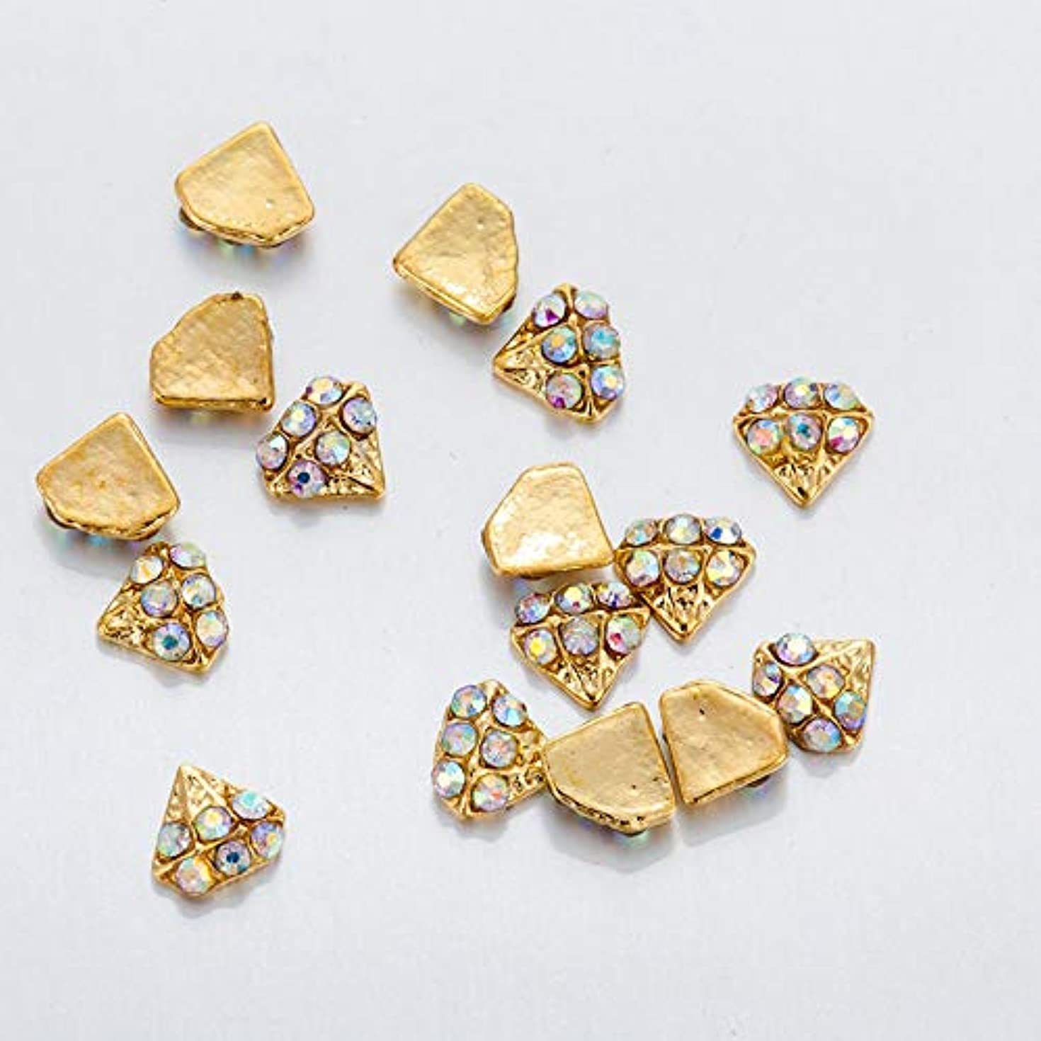 注目すべきキャッチゲートウェイ10 PCS /袋3Dラインストーンダイヤモンド形状合金のフラワーネイルグラマーネイルアートデコレーションスパークリングラインストーンネイル用品