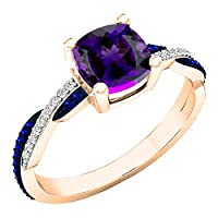 10K ローズゴールド 6mm クッション&ラウンド宝石&ダイヤモンド レディース スワール 婚約指輪