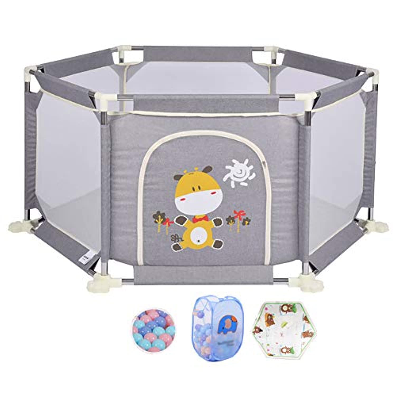 灰色の赤ちゃんの遊び場とボールの遊び場マットレスのパズル海洋ボールのプールと収納用バスケット、特大の幼児の柵 (サイズ さいず : 67cm)