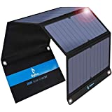 BigBlue ソーラーチャージャー 28W ソーラーパネル ソーラー充電器 3USBポート最大4.8A出力防水 太陽光で充電 バッテリーパック ソーラーパネル4枚搭載 地震 災害時 アウトドア バッテリーパックiPhone/iPad/Samsung