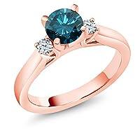Gem Stone King 0.9カラット 天然 ブルーダイヤモンド 合成ホワイトサファイア (ダイヤのような無色透明) シルバー925 ピンクゴールドコーティング 指輪 リング
