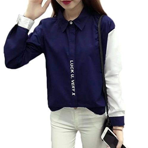 YINGCAN Ladies by color long-sleeved polo shirt simple loose small freshening school-style crew neck shirt