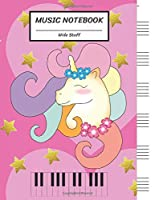 """Music Notebook Wide Staff: Unicorn Girl Big Heart Gold Star,Piano Keyboard/Blank Music Sheet Notebook,Big Staff Paper,Music Manuscript Paper,6 Large Staves per page,8.5""""x11"""",100 Pages,For Boys,Girls, Kids, Beginners."""