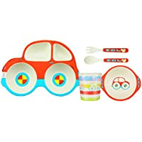 whoishe 5-piece Kids夕食set|幼児用プレートセット| Baby Meal Set |環境に優しい竹皿| food-safe Feeding Set for Toddlers男の子と女の子 One Size レッド