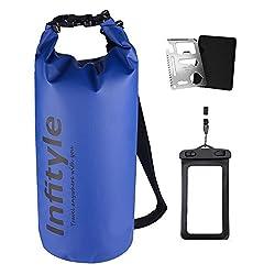 (Infityle)防水バッグ ドライバッグ ボートやカヤック ラフティング 釣り 水泳 キャンプ スノーボードなどに適用 + フリー防水ポーチ + ポケットツール (ダークブルー, 10L)