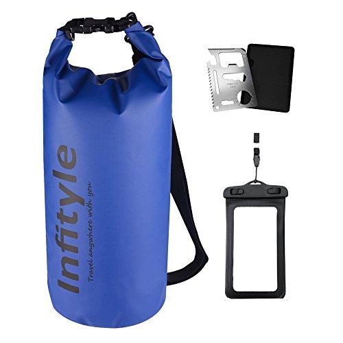 (Infityle)防水バッグ ドライバッグ ボートやカヤック ラフティング 釣り 水泳 キャンプ スノーボードなどに適用 + フリー防水ポーチ + ポケットツール (ダークブルー, 20L)