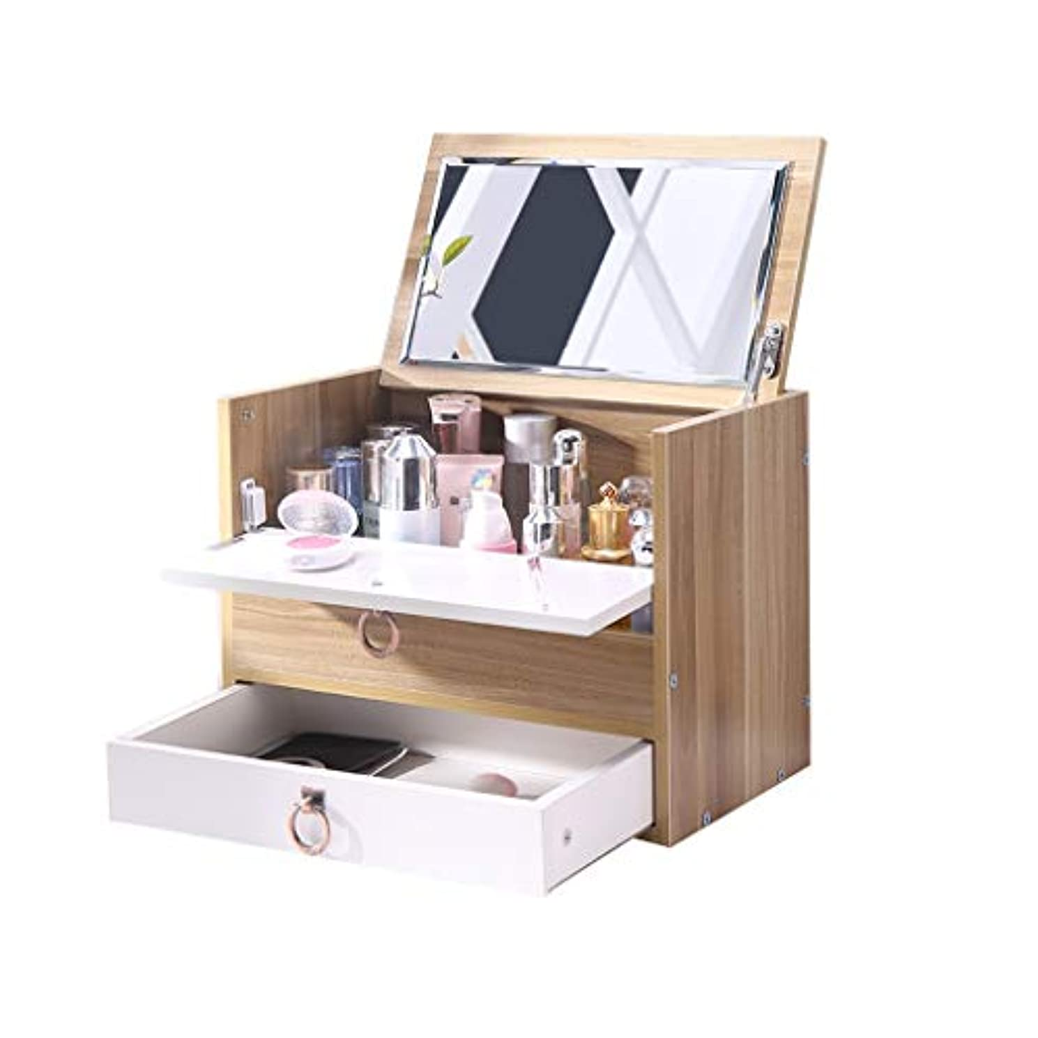 陸軍持続的保守可能ミラーの引出しフレームの櫛のテーブルの化粧箱が付いている木の化粧品の収納箱の卓上
