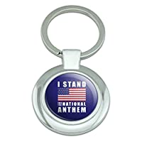 私はアメリカの国旗アメリカのために立つクラシックラウンドクロームメッキキーホルダー