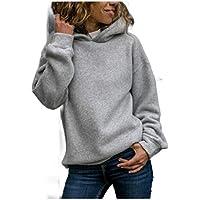 Howely Women Plain Casual Long Sleeve Loose Hooded Tunic Sweatshirts Tops