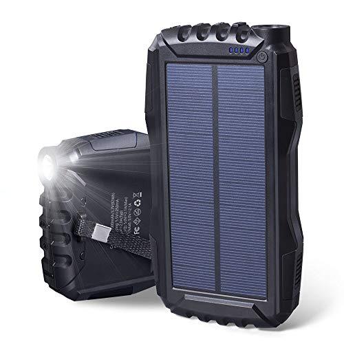 Soluser モバイルバッテリーソーラー 25000mAh超大容量 太陽光チャージャー 急速充電器 LEDランプ搭載 アウトドア防水 防塵 耐震 2USBポート iPhone/Android対応 SOS発信 (ブラック)