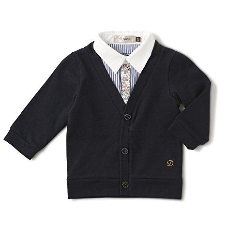 D.fesense レイヤード風長袖トップス/ 90cm /ネイビー AP703362690