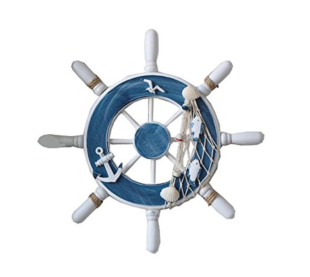 航海ビーチ木製ボート船ステアリングホイールFishing Netシェルホーム壁の装飾、ブルー