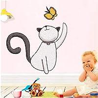Faaddd 猫プレイ蝶ウォールステッカー取り外し可能な装飾デカール用寝室用リビングルームの壁漫画ガラスステッカー家の装飾36センチ×30センチ