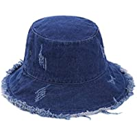 Vikodah Denim Bucket-Hat Distressed-Fisherman Foldable - Outdoor Sun Protection Beach Cap (Dark Blue)